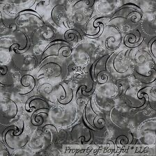 BonEful Fabric Cotton Quilt Gray Black White B&W Dot Swirl Scroll Calico L SCRAP
