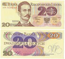 1982 POLAND 20 ZLOTYCH ROMUALD TRAUGUTT BANKNOTE #UNC#