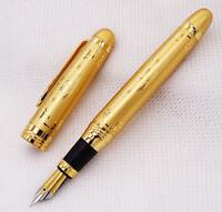 Duke 15 Fully Golden Metal Fountain Pen Beautiful Pattern Medium Nib Office Gift