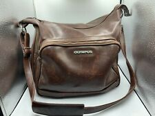 Olympus Brown Leather Vintage OM Camera Bag With Adjustable Strap From Japan