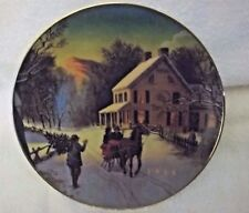 "1988 Avon Christmas Plate ""Home For The Holidays"" Porcelain Plate 22K Gold Trim"