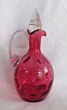 Cranberry Glass Inverted Thumb Print Coin Dot Cruet w/Skyscraper Stopper Fenton