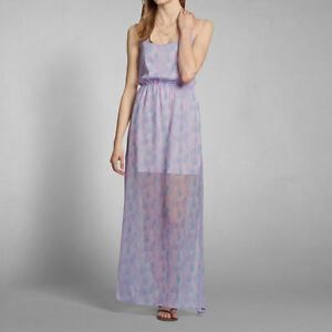 NWT Abercrombie and Fitch purple blue maxi long dress XS Xsmall