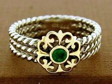 9ct Solid Gold, 925 Sterling Silver Natural Emerald Ring Rope Fleur-de-lis sz N