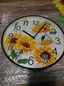 "Sunflower Modern Wall Clock Silent Non-ticking Battery Operated 11"" Round Clock"
