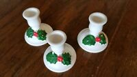 Vtg Christmas Candleholders Holly with Berries Ceramic Set of 3