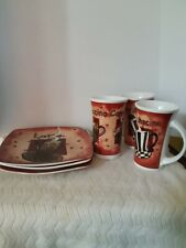 Gryphonware 3 Cups Whit 3 dessert plates