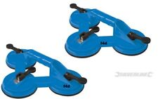 2x Pro Silverline Triple Head Suction Pad Lifter 100kg Glass Puller Dent Remover