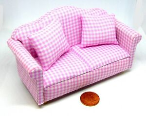Pink and White Sofa Settee Tumdee 1:12 Scale Dolls House Furniture Accessory 162