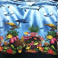 Ky's Mens 3Xl Hawaiian Ocean Porpoise Sea Turtle Coral Reef Underwater Shirt