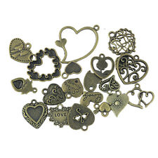 20x Antique Bronze Alloy Charm Pendant Heart Jewellery Making Craft Findings