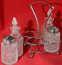 Vtg Castor Cruet Set Pressed Glass Diamond Pattern Metal Caddy Oil Salt Pepper