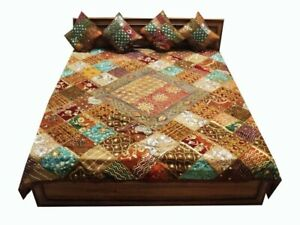 33% OFF 5 PC AUTHENTIC VINTAGE SARI BEAD QUILT BLANKET THROW BEDSPREAD COVERLET