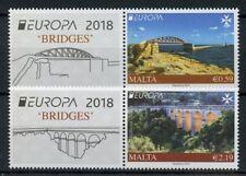 Malta 2018 MNH Bridges Europa Bridge 2v Set + Label Tourism Architecture Stamps