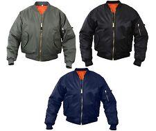 Kid's Military Style MA-1 Flight Jacket - Boy's Air Force Reversible Nylon Coat