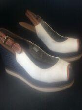 Ladies Wrangler Denim Wedge Sandals Cream Blue Buckle Nice Condition UK 6 EU 39