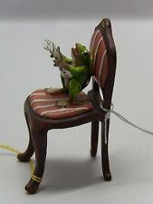 Bermann Vienna Bronze Miniature Figurine-Frog Sitting on Chair Reading The Times