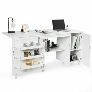 Folding Sewing Table Shelves Storage Cabinet Craft Cart W/Wheels Large White