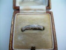 Vintage 9ct White Gold Natural Diamond Half Eternity Ring Size H.