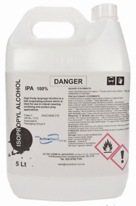 Isopropyl Alcohol 100% IPA Isopropanol 5L 5 Litres Fast Evaporating Cleaner