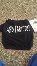 NWT Doggieduds Pet Fashion Puppy Dog Clothes T-shirt Who Farted Black XSmall