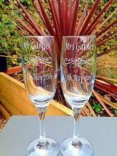 Mr & Mrs Champagne Flutes - Engraved- Personalised- Bride & Groom - Wedding Gift