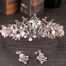 Elegant Bridal Rhinestone Crystal Pink Flower Crown Headband Hair Band Jewelry