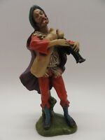 "Vintage Italy Nativity Replacement Man Playing Bagpipes 8½"" Tall Resin Heavy"
