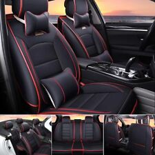 AU Black&Red 100% PU Leather Seat Covers 5-Seats Car SUV Front+Rear Cushions Set