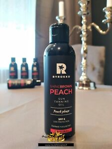 🍑BYROKKO Shine Brown Peach Tanning Oil SPF6   For darkest natural tan!