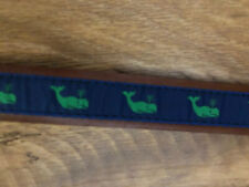 YRI Belt Genuine Leather Brown And Blue With Green Whales Size 34 NWT