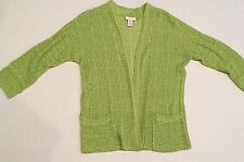 CHICOS 0 Sweater Chico Size 0 Womens size 4 Bright Green Open Front Sweater