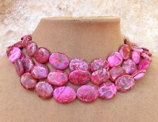 CRAZY LACE LAUGHTER STONE AGATE Hot Deep Pink Swirl 3str BIG NECKLACE Happy Lace