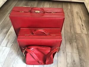Hartmann Luggage Burgundy Red Leather  Suitcase & Carry on