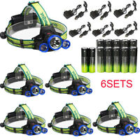 Tactical 90000LM 3xT6 LED Headlight Headlamp Lamp + Battery + AC/Car Charger lot