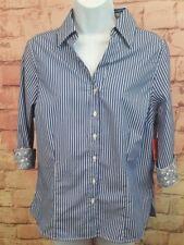 Coral Bay Petites Career Tailored Shirt Sz PM Blue/ White Stripes 3/4 sleeves