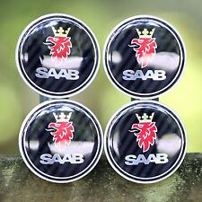 SAAB NEW (SET OF 4) (64mm/2.5IN) BLACK CARBON WHEEL CENTER CAPS 9/2-7 WC4PC527