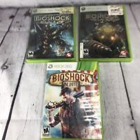 Bioshock 1, Bioshock 2 & Bioshock Infinite Lot of 3 Xbox 360 Video Games