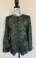 WITCHERY Green Snakeskin Animal Print Size 12 Button Up Long Sleeve Blouse Top