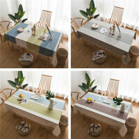 Plaid Stripe Tassel Tablecloth Dust-proof Table Cover for Kitchen Dinning Table