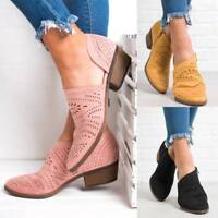 Womens Lady Ankle Boots Mid Block Heel Hot Zip Hollow Round Toe Rome Shoes Size