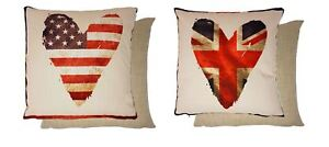 "2 X FILLED HEART FLAG UNION JACK STARS & STRIPES USA FLAG CUSHION 17"" - 43CM"