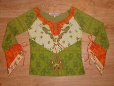 Women's Savage Culture Multi Print Long Angel Sleeve Cotton Top Size S UK 8 P