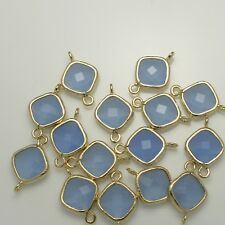 Square Framed Glass Pendants Earrings Findings Connectors Silver Gold Plated #8