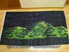 Fahnen Flagge Totenkopf Biker HELL OF A RIDE - 90 x 150 cm