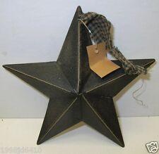 """Primitive 5"""" Black Tin Star With plaid ribbon"""