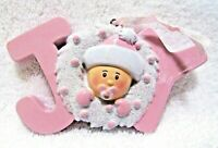 Christmas Holiday Baby Girl Ornament Pink Wreath Joy Resin Hanging Decoration