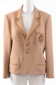 Ralph Lauren light brown 12 L beaded suede trim logo blazer jacket top NEW $1790