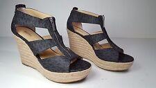 size 9 Michael Kors Damita Black MK Signature PVC Wedge Platform T-Strap Sandals