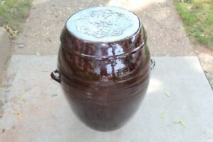 HUGE Korean Chinese Earthenware Pottery Bowl Lidded Vessel ONGGI Brown #3